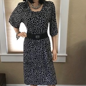 Dana Buchman Black White Animal Print Dress Sz 10